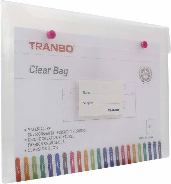 TRANBO Plastic Plastic Clear Bag Document Folder File with Snap Button, A4 Size, Pack of 1