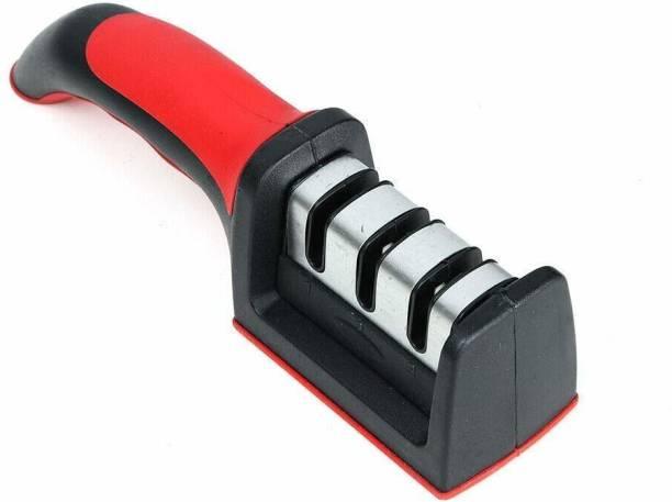 INKULTURE Manual Knife Sharpener 3 Stage Sharpening Tool Ceramic Knife and Steel Knives Color Black & Red Knife Sharpening Stone