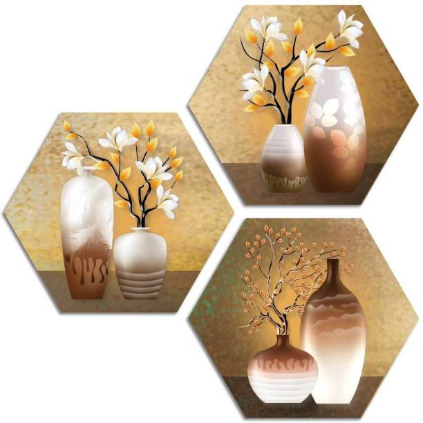 Art Amori White and Yellow flowers 3 Piece Hexagon MDF Painting Digital Reprint 17 inch x 17 inch Painting