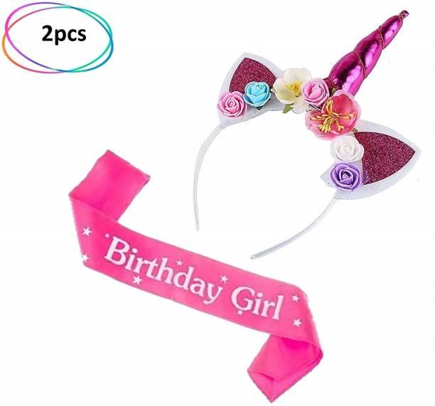 Balloons Festiko Unicorn Headband Birthday Girl Set-Headband and Pink Satin Sash Girls Happy Birthday Party Supplies Favors and Decorations 1pcs Birthday Gilrs Sash, 1pcs Head band