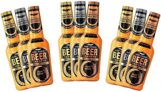 PARK AVENUE Beer Shampoo Shiny & Bouncy, Anti Dandruff & Damage Free Pack Of 9
