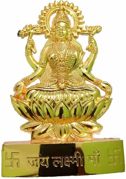 salvusappsolutions Metal Handmade Maa Laxmi Idol Statue for Home- 4 INCH Decorative Showpiece  -  10 cm