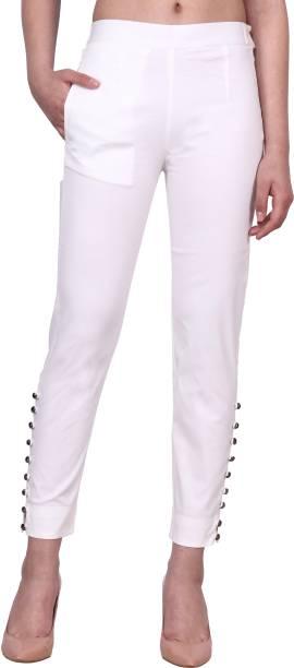 POPWINGS Regular Fit Women Cream Trousers