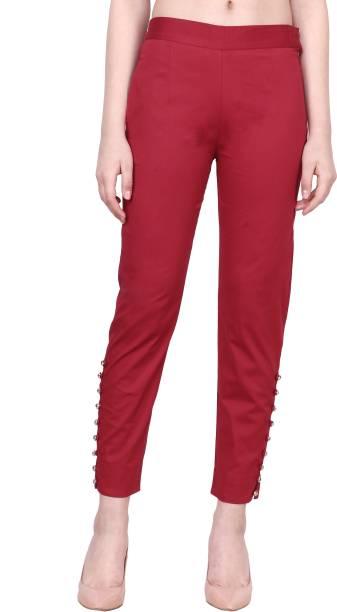 POPWINGS Regular Fit Women Maroon Trousers