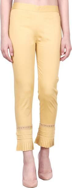 POPWINGS Regular Fit Women Gold Trousers