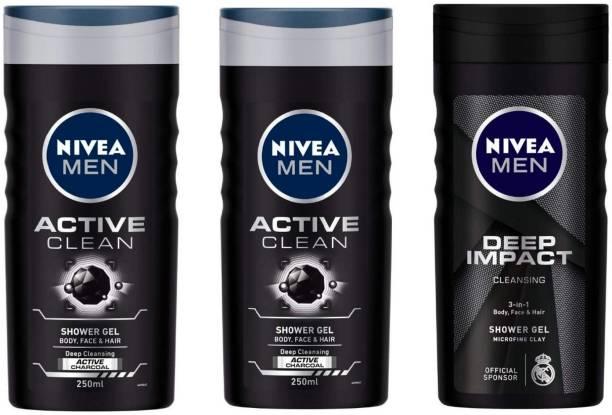 NIVEA MEN ACTIVE CLEAN , DEEP IMPACT (250 ML) (PACK OF 3) SHOWER GEL