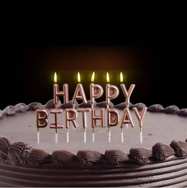 AMFIN Happy Birthday Candle / 1st Birthday Candle / Happy Birthday Candle For Birthday Theme /Happy birthday candles for cake (Rose Gold) Candle