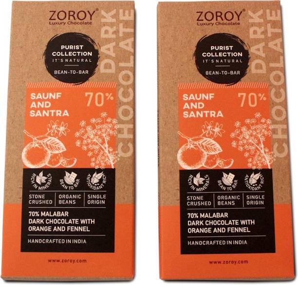 Zoroy Luxury Chocolate Purist Collection, Set of 2 70% Organic Dark chocolate, with Saunf and Santra Bars