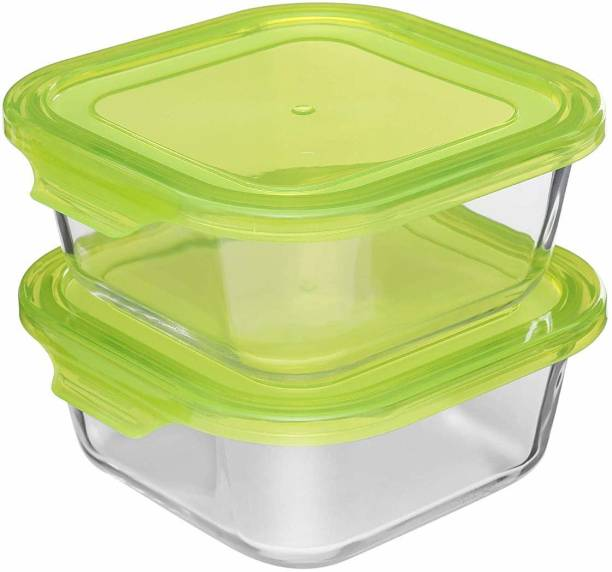 Cutting EDGE (Pack of 2, Clear) 850 ml Glass Fridge Container - Hi-Clarity Borosilicate Glass Storage Air Tight Container  - 850 ml Glass Fridge Container