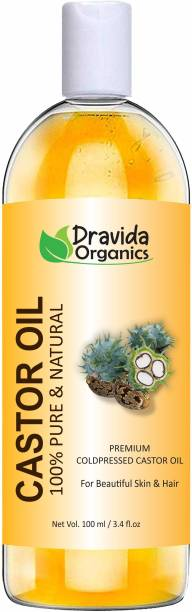 Dravida Organics Cold-Pressed 100% Pure Castor Oil Hair Oil