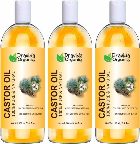 Dravida Organics Cold-Pressed 100% Pure Castor Oil (Pack of 3) Hair Oil
