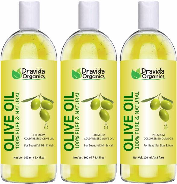 Dravida Organics Pure Olive Carrier Oil -Cold Pressed- 300 ml - moisturizes & hydrates skin , nourishes the scalp and strengthen nails (Pack of 3) Hair Oil