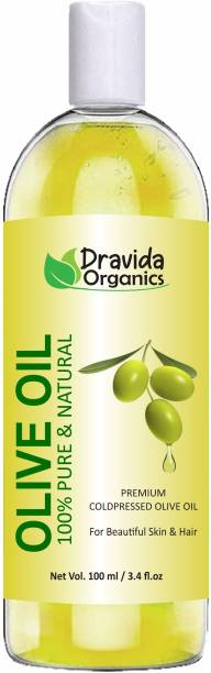 Dravida Organics Pure Olive Carrier Oil -Cold Pressed- 100 ml - moisturizes & hydrates skin , nourishes the scalp and strengthen nails Hair Oil