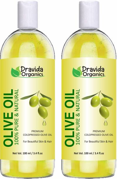 Dravida Organics Pure Olive Carrier Oil -Cold Pressed moisturizes & hydrates skin , nourishes the scalp and strengthen nails (Pack of 2) Hair Oil