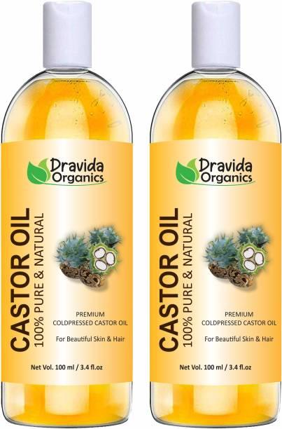 Dravida Organics Cold-Pressed 100% Pure Castor Oil (Pack of 2) Hair Oil