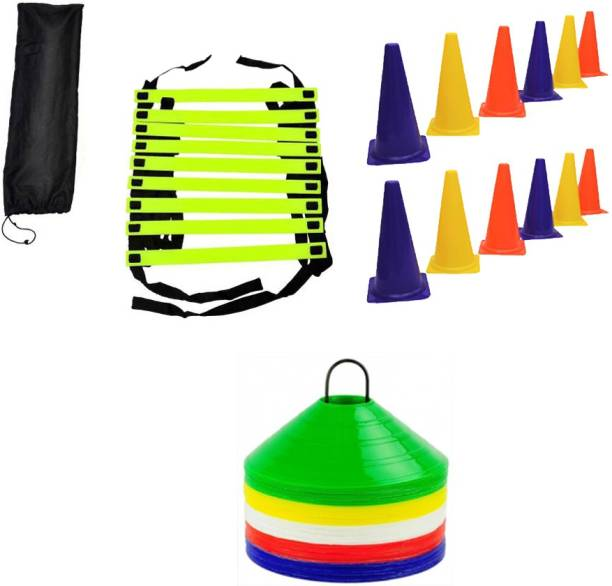 L'AVENIR Sports & Fitness 4mtr Speed / Agility Ladder + 12pcs. Cone Marker (6inches) + 50 Saucer Cones / Space Marker Gym & Fitness Kit