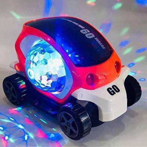 LooknlveSports Future 09 Musical Stunt Car Rotate 360° with Flashing Light & Music (Orange, White)