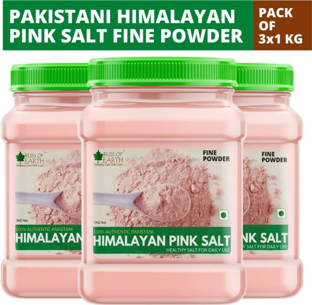 Bliss of Earth 3x1KG Authentic Pakistani Fine Powdered Himalayan Pink Salt for Healthy Cooking Himalayan Pink Salt