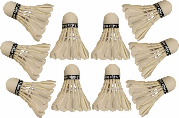 VK MART Badminton Shuttle Cocks White colour For All Age Standard size Feather Shuttle  - White