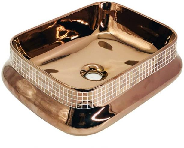 Tap & Tile Premium Quality Rose gold Color Imported Table Top wash Basin size 18.5x15x6 Glossy finish TMT168 Table Top Basin