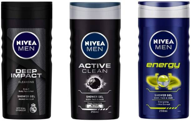 NIVEA MEN DEEP IMPACT , ENERGY , ACTIVE CLEAN (250 ML) (PACK OF 3) SHOWER GEL