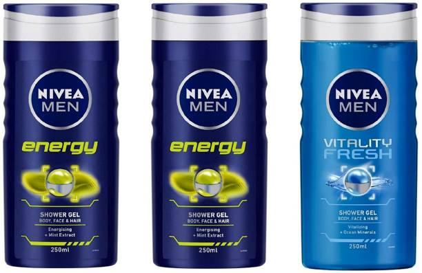 NIVEA MEN ENERGY , VITALITY FRESH (250 ML) (PACK OF 3) SHOWER GEL 69