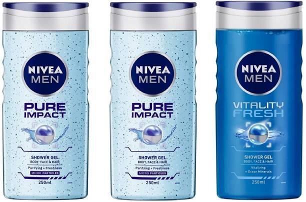 NIVEA MEN PURE IMPACT , VITALITY FRESH (250 ML) (PACK OF 3) SHOWER GEL 80