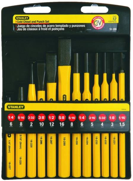 STANLEY 16-299 12 Piece Pin Punches and Cold Chisel Set Paring Chisel Set
