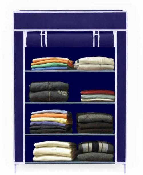Sasimo 4-Shelf Fabric Collapsible Carbon Steel Collapsible Wardrobe
