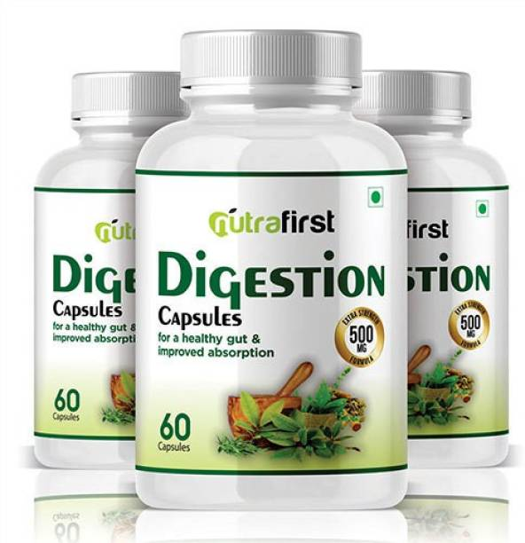 NutraFirst Digestion Capsules 500mg with Ayurvedic Herbs for Better Digestion - 3B Capsules