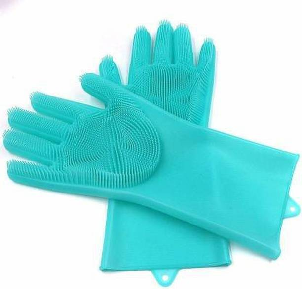 AADCART AAD CART Silicone Scrubbing Cleaning Gloves with Scrubber Wet and Dry Glove (Free Size) Gardening Shoulder Glove