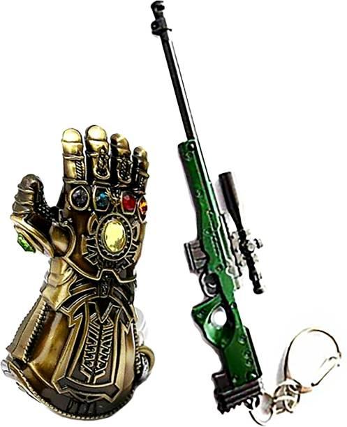 MASHKI Thanos Gauntlet & Green AWM Key Chain Combo Marvel Superhero PUBG Gun Sniper Key Ring Key Chain
