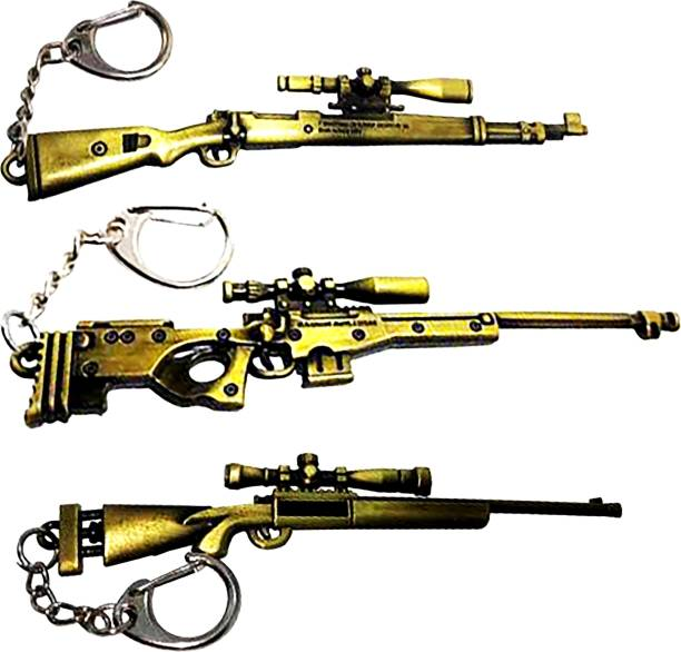 MASHKI PUBG THEME KEY CHAIN COMBO SET of 3 KAR98 M24 & AWM GOLD SNIPER GUN KEY RINGS / PUBG keychains Key Chain