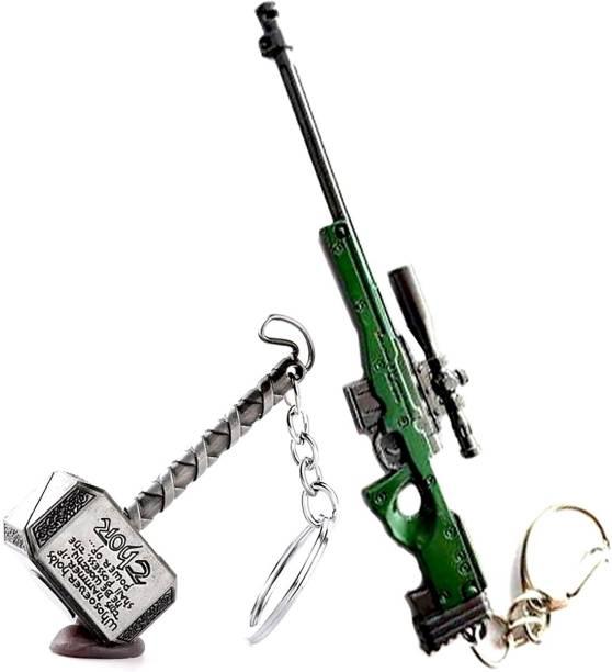 MASHKI Thor Hammer & Green AWM Key Chain Combo Marvel Superhero PUBG Gun Sniper Key Ring / Thor keychain Hammer keychain Key Chain
