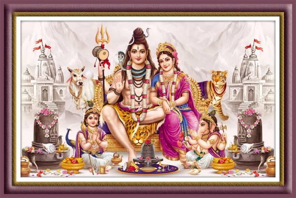 god & god's Shivpariwar Digital Reprint 12 inch x 18 inch Painting