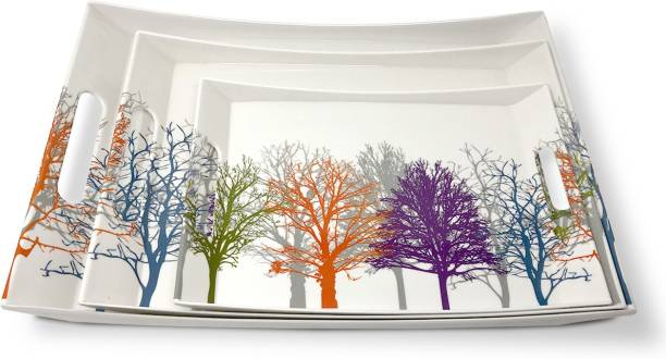U.P.C. Melamine Multicolor Tree Print Serving Tray, Set of 3 (Small, Medium and Large Size) Ocean Series Tray