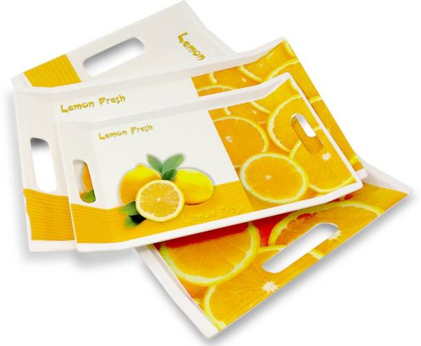U.P.C. Melamine Lemon Printed White & Yellow Tray For Breakfast & Dinner Serving Villori Series Tray