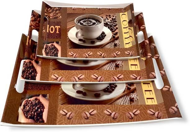 U.P.C. Melamine Coffee, Breakfast & Dinner Serving Printed Tray, (Small, Medium and Large Size) Ocean Series Tray