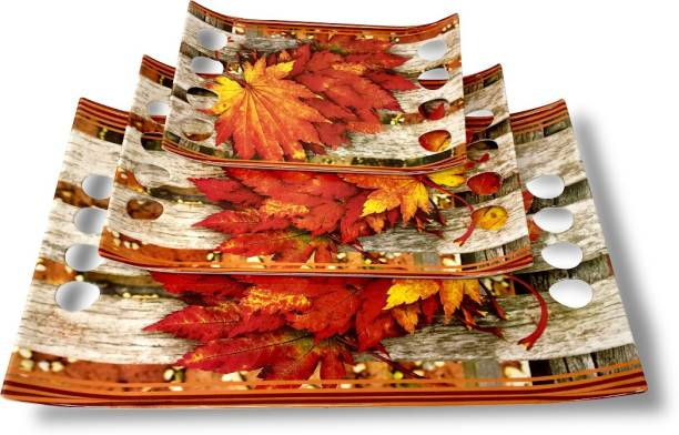 U.P.C. Melamine Multicolor Leaf print Stylish Serving Tray, Set of 3 Royale Series Tray