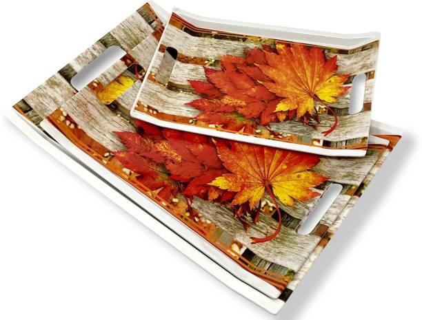 U.P.C. Leaf Printed Melamine Serving Tray, Set of 3 (Small, Medium and Large Size) Villori Series Tray
