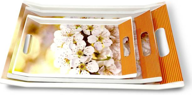 U.P.C. White Flower print Melamine Dinner & Breakfast Serving Tray, Set of 3 Villori Series Tray