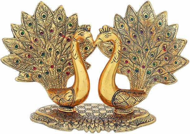Chhariya Crafts Pair Of Kissing Peacock Metal Showpiece Decorative Showpiece  -  17 cm