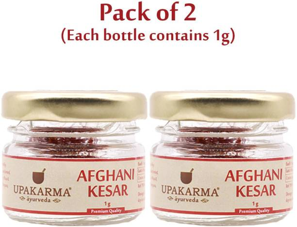 UPAKARMA Certified Natural, Pure and Organic Finest A++ Grade Afghani Kesar / Saffron Threads 1 Gram - Pack of 2