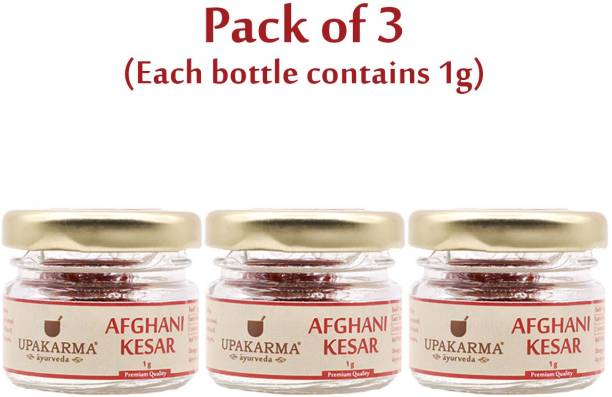 UPAKARMA Certified Natural, Pure and Organic Finest A++ Grade Afghani Kesar / Saffron Threads 1 Gram - Pack of 3
