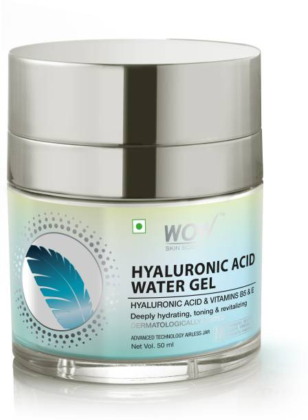 WOW SKIN SCIENCE Hyaluronic Acid Water Gel for Hydration, Toning - with Hyaluronic Acid & Vitamins B5 & E - For All Skin Types - No Parabens, Silicones, Color, Mineral Oil & Synthetic Fragrance - 50mL Men & Women