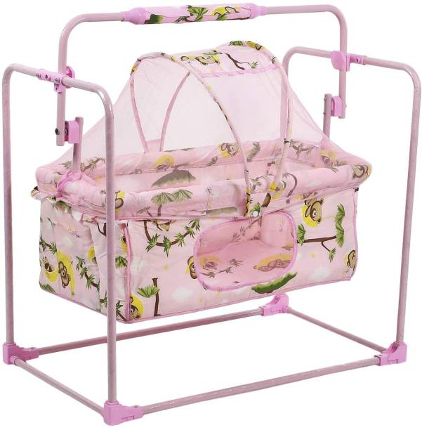 Miss & Chief Cozy New Born Baby Cradle,Baby Bedding,Baby jhula, Baby Swing,Baby palna, Baby Bed, Crib, Bassinet with Mattress, Pillow Mosquito Net and Swing Lock Function for 0-9 Months