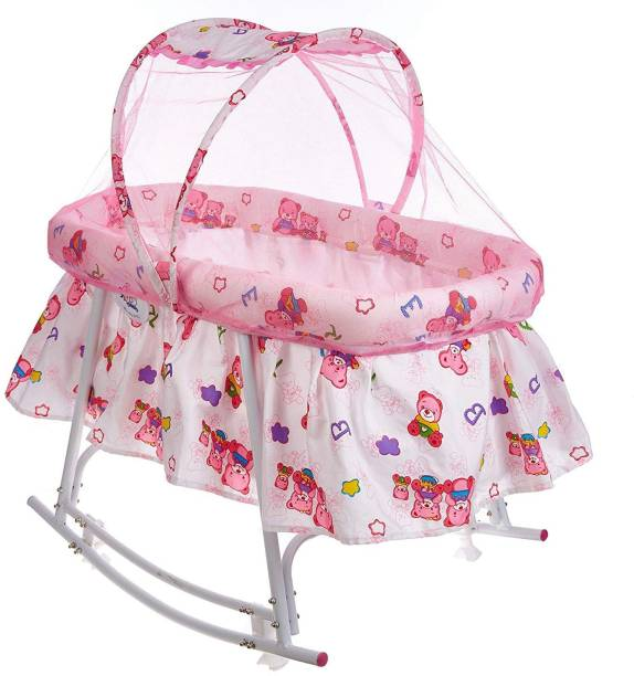 Miss & Chief Cozy New Born Baby Cradle,Baby Bedding,Baby jhula,Baby Swing, Baby palna, Baby Bed, Crib, Bassinet with Mattress, Pillow Mosquito Net and Swing Lock Function for 0-9 Months (Pink)