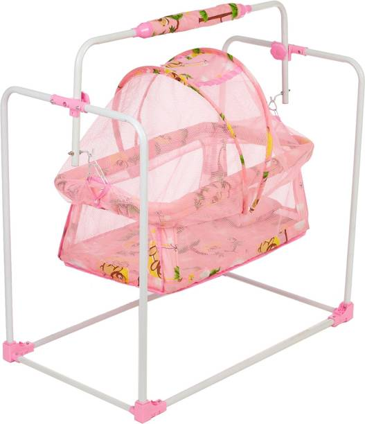 Miss & Chief New Born Baby Cradle, Baby Swing, Baby jhula, Baby palna, Baby Bedding, Baby Bed, Crib, Bassinet with Mattress, Mosquito Net and Swing Lock Function for 0-9 Months