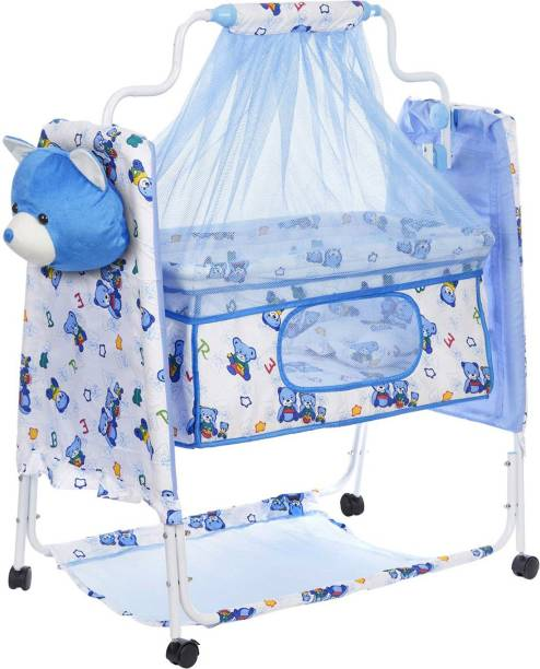 Miss & Chief Cozy New Born Baby Cradle, Baby Swing, Baby jhula, Baby palna, Baby Bedding, Baby Bed, Crib, Bassinet with Mattress, Pillow, Mosquito Net for 0-9 Months (Blue)