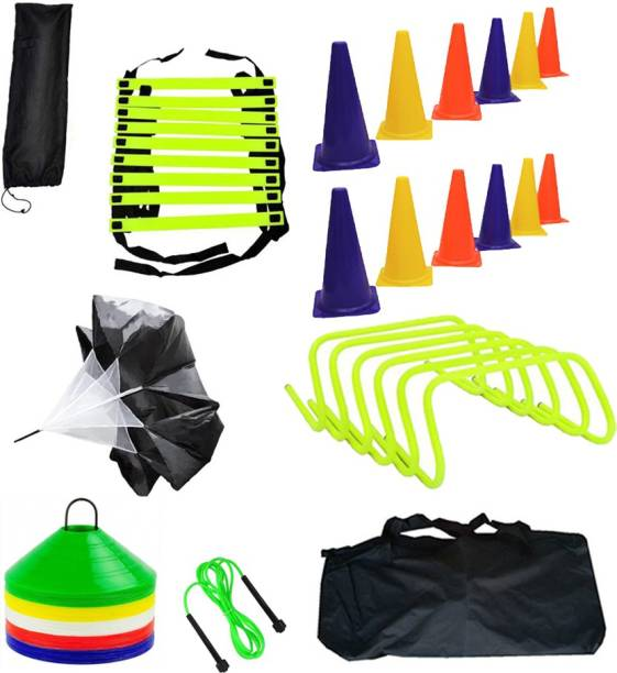 L'AVENIR Sports & Fitness 4mtr Speed Ladder + 12pcs. Cone Marker (6inches) + 50 Space Marker + 6 Hurdles + 1 Parachute + Jump Rope + 1 Carry Bag Gym & Fitness Kit
